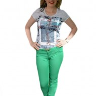 Pantalon lung de vara, model trendy in culoare verde deschis