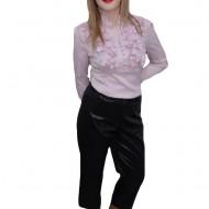 Pantalon negru, saten de calitate, talie inalta comoda