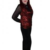 Pantalon rafinat, nuanta de negru, design interesant floral