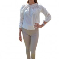 Pantalon tineresc cu imprimeu de dungi subtiri, nuanta de bej