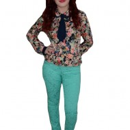 Pantalon trendy, de culoare turcoaz, imprimeu abstract