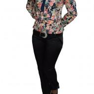 Pantalon trendy din saten, design clasic, de nuanta neagra