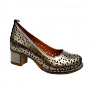 Pantof casual-elegant cu toc mic, stabil, in nuanta de argintiu