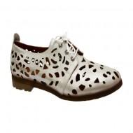Pantof comod cu talpa joasa, confortabila, din piele argintie