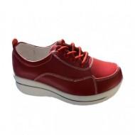 Pantof confortabil de culoare rosie din piele naturala