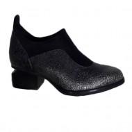 Pantof confortabil realizat din piele naturala lucioasa gri inchis
