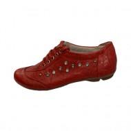 Pantof cu siret, din piele naturala mata, rosie, cu aspect creponat