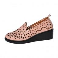 Pantof din piele cu perforati fine, nuanta de pudra