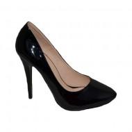 Pantof elegant cu toc inalt, de culoare neagra, model simplist