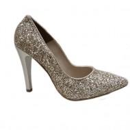 Pantof elegant, nuanta de auriu, design din paiete foarte fine