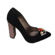 Pantof fashion nuanta de negru mat cu pietre colorate si toc gros