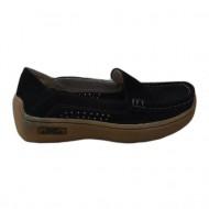 Pantof negru din velur, cu model perforat in fata si pe laterale