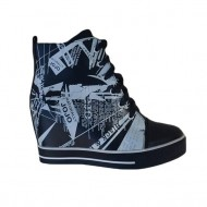 Pantof sport cu platforma ascunsa, bleumarin cu design interesant