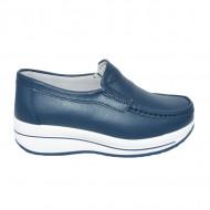 Pantofi bleumarin cu talpa ortopedica ,din piele,model simplu