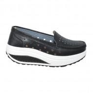 Pantofi casual perforati din talpa ortopedica ,negru