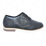 Pantofi dama cu perforatii si siret,nuanta de negru