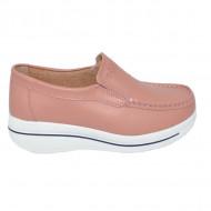 Pantofi roz cu talpa ortopedica ,din piele,model simplu