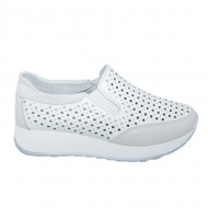Pantofi sport dama ,alb cu perforatii si talpa grosa