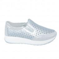 Pantofi sport dama ,argintii cu perforatii si talpa grosa