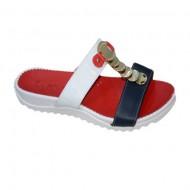 Papuc fashion din piele, culoare alb-bleumarin-rosu, decor auriu