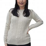 Pulover tricotat Adala cu model rafinat,alb