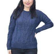 Pulover tricotat Alexa ,model impletit 3d,bleumarin