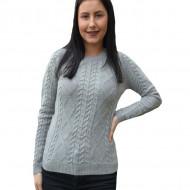 Pulover tricotat Danna cu insertii de picatele multicolore,nuanta de gri