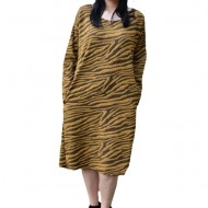 Rochie Adda casual cu imprimeu de leopard ,nuanta de mustariu