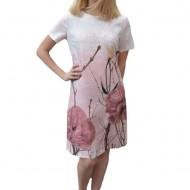 Rochie Aida de zi,design floral,nuanat alb-roz