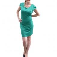 Rochie casual ,de nuante verde ,cu centura bleomarin