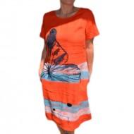 Rochie casual-elegant cu imprimeu, culoare corai