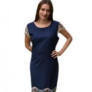Rochie casual-eleganta, bleumarin cu broderie florala, colorata