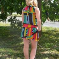 Rochie casual, feminina din voal fronsat, multicolor