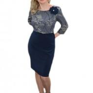 Rochie casual masura mare, bleumarin cu imprimeu de flori bej