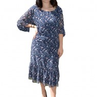 Rochie Catlin cu imprimeu floral,nuanat de bleumarin
