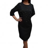 Rochie chic de toamna-iarna, culoare gri inchis cu perle aplicate