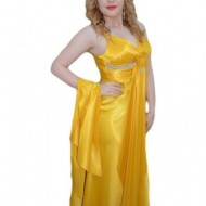 Rochie chic lunga, de culoare galbena, cu decolteu in V