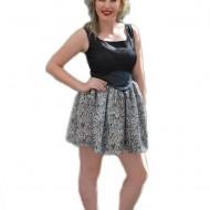Rochie de culoare negru-argintiu si insertie din piele ecologica