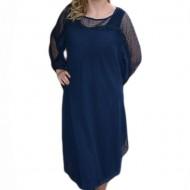 Rochie de gala bleumarin, masura mare, insertie de voal deasupra
