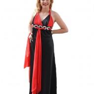 Rochie de gala eleganta, din saten negru si voal rosu, design aparte