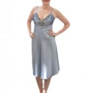 Rochie de gala scurta, cu garnitura de strass-uri, din saten argintiu