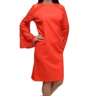 Rochie de ocazie in nuanta de corai, material elastic si dantela