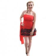 Rochie de ocazie mini, de culoare rosie, cu model de fronseuri