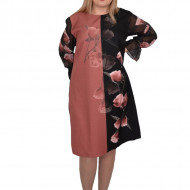 Rochie de ocazie Rebeca,imprimeu cu trandafiri,negru