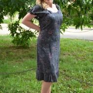 Rochie de primavara-vara, imprimeu oceanic, nuante de gri-roz