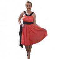 Rochie de seara eleganta, din voal de culoare corai, cu insertii negre