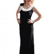 Rochie de seara lunga, neagra, eleganta, cu insertii albe pentru design