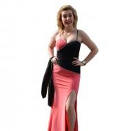 Rochie de seara rafinata, combinatie de roz cu negru, design sexi