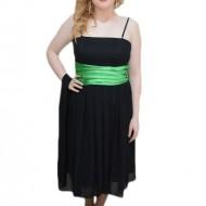 Rochie de seara scurta, din voal negru, cu banda verde in talie