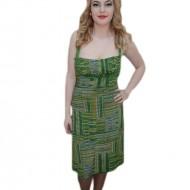 Rochie de vara cu bretele din lant, culoare verde cu dungi